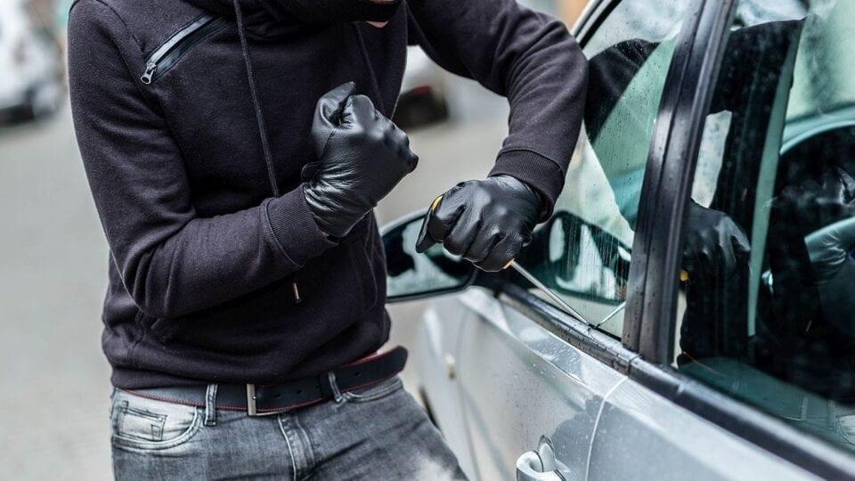 a vehicle being stolen